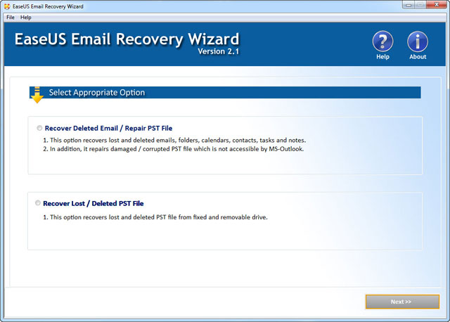 EaseUS Email Recovery Wizardユーザーガイド、その1