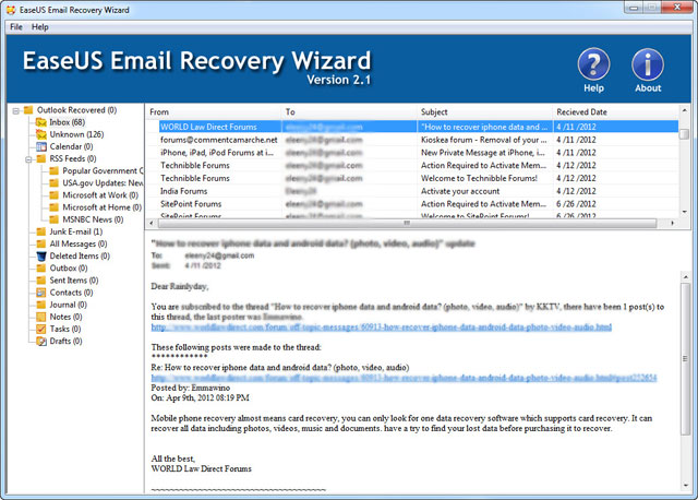 EaseUS Email Recovery Wizardユーザーガイド、その4