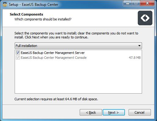 EaseUS Backup Center - インストール